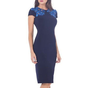 Embroidered Navy Blue Floral Sheath Dress Cutout